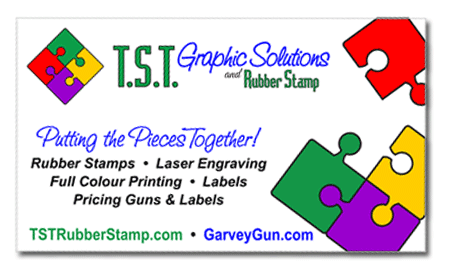 TST Rubber Stamp business card