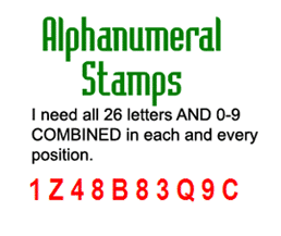 Alphanumeral stamps